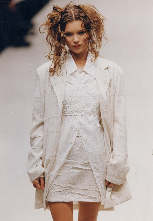 an assortment of nonchalant white garments layered over one another, because why not, a la Kate Moss.