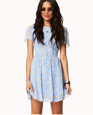 Daisy Print Dress with Belt, Forever 21