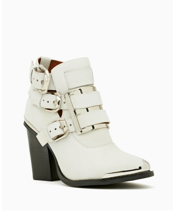 Jeffrey Campbell Hyatt Buckled Booties. Seem like they would look good with anything—little dresses, long dresses, shorts, black skinny jeans, the works. Le sigh.